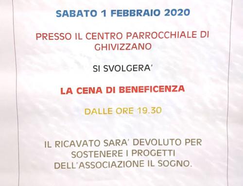 Cena Beneficenza Ghivizzano Sabato 01 Febbraio 2020